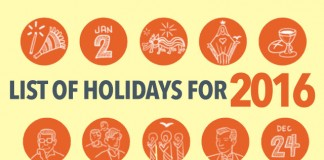 2016 Holiday Calendar
