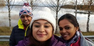 three women driving from New Delhi to London