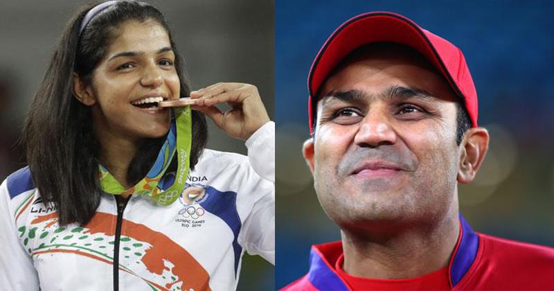Sakshi Malik and Virender sehwag