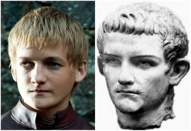 Jack Gleeson and the Roman emperor Caligula.