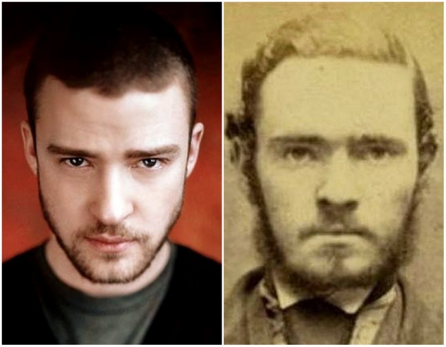 Justin Timberlake and an unknown man in a mug shot