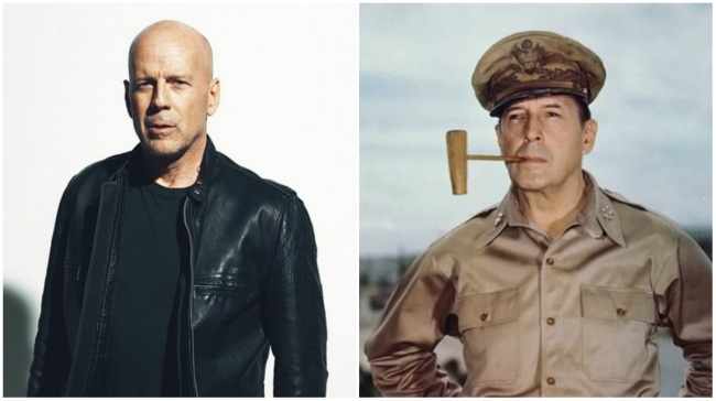 General Douglas MacArthur and Bruce Willis.