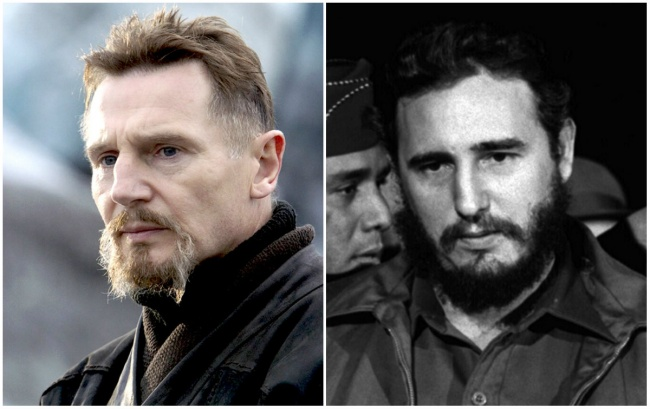 Liam Neeson and Cuban revolutionary Fidel Castro.