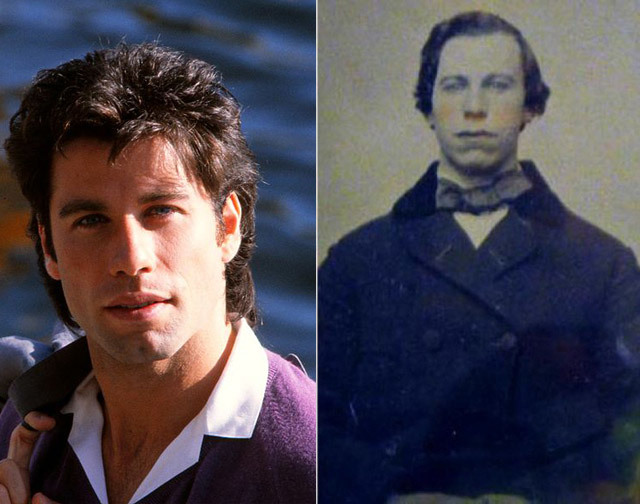John Travolta and an unknown man from the 1860's.