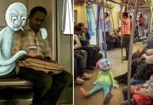 Doodles Monsters On Delhi Metro