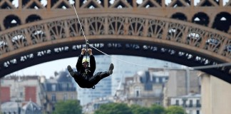 Zip Lining From Eiffel Tower