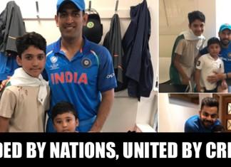 India vs Pakistan MS Dhoni, Virat Kohli And Yuvraj Singh With Azhar Ali's Kids