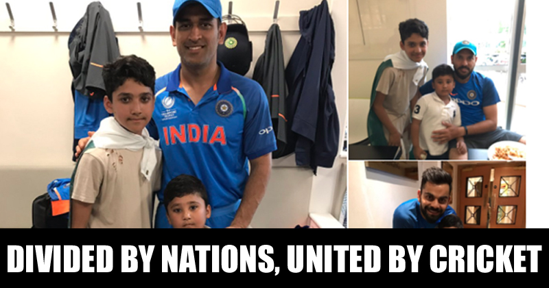 India vs Pakistan MS Dhoni, Virat Kohli And Yuvraj Singh With Azhar Ali's Kids
