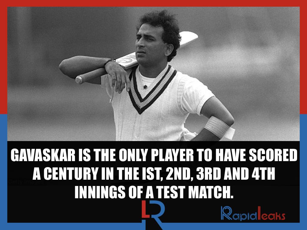 Sunil Gavaskar century in the Ist, 2nd, 3rd and 4th innings