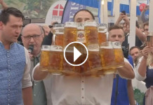 This German Man Broke His Own Record And Carried 29 Jugs Of Beer