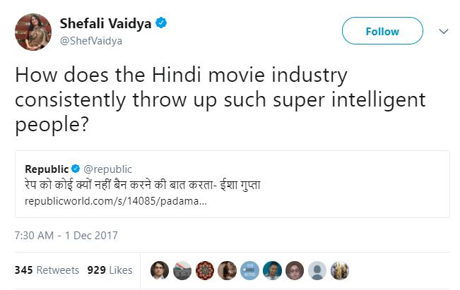 Shefali Vaidya tweet