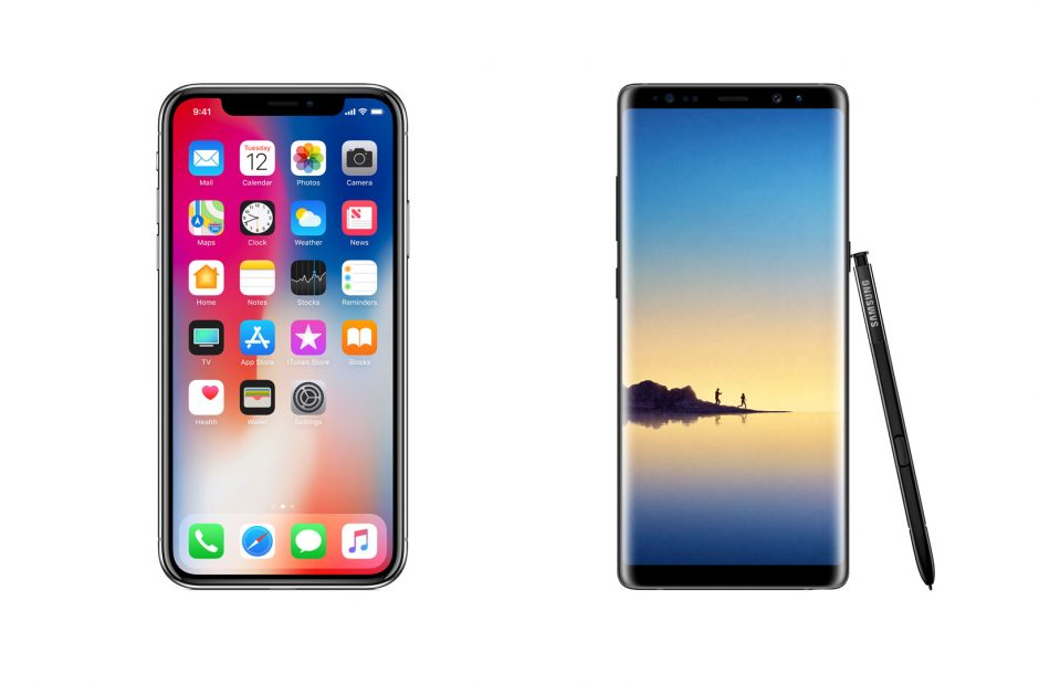 iPhone X and Samsung Galaxy 8 Plus