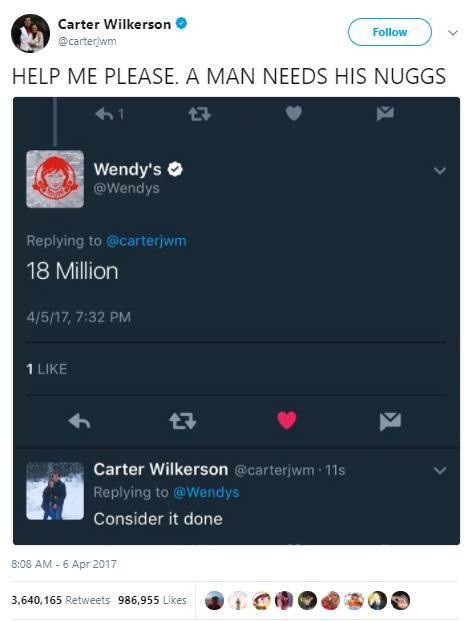 Carter Wilkerson tweet