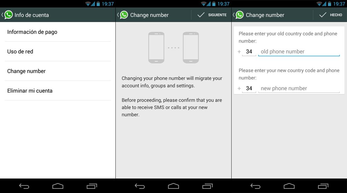 Change Number whatsapp