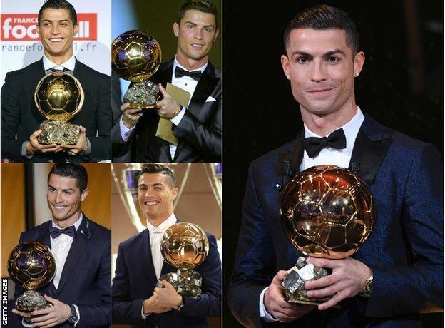 Cristiano Ronaldo has won the Ballon d'Or 5 times