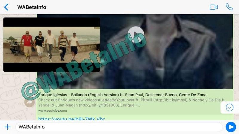 In-app YouTube playback whatsapp