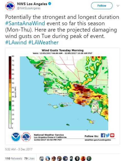 NWS Los Angeles tweet