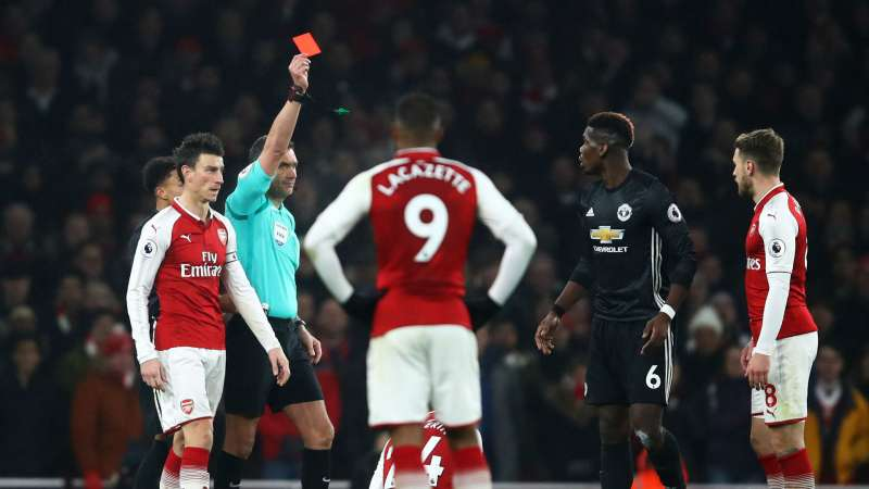 paul pogba's red card against arsenal