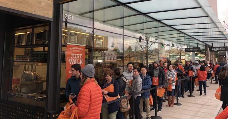 Amazon Go First Outlet Opened In Seattle With A Huge Line Outside The Store, Oh The Irony!