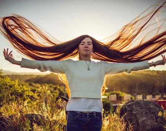 Argentinian Girl Abril Long Hair World Record