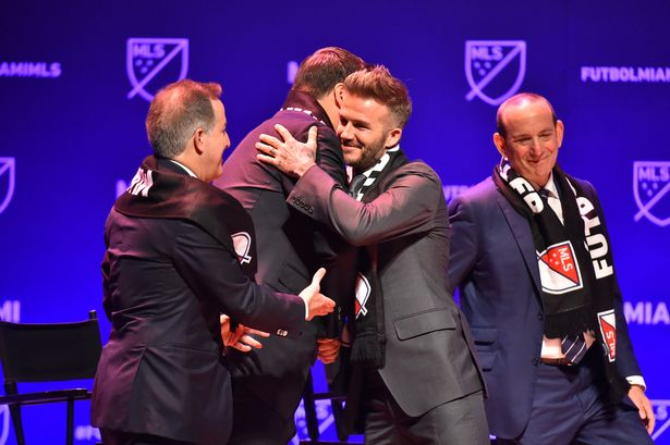 David Beckham celebrates unveiling his new MLS club