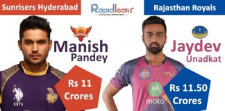 IPL Auction 2018 Jayadev Unadkat Manish Pandey