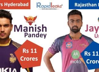 IPL Auction 2018 Jayadev Unadkat Manish Pandey