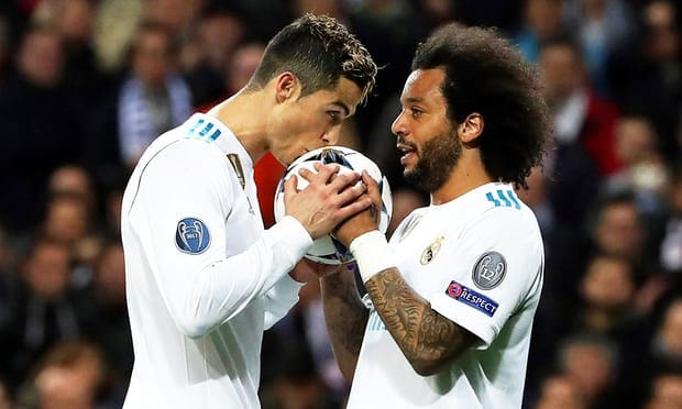 Cristiano Ronaldo celebrates scoring Real Madrid's equaliser with his team-mate Marcelo