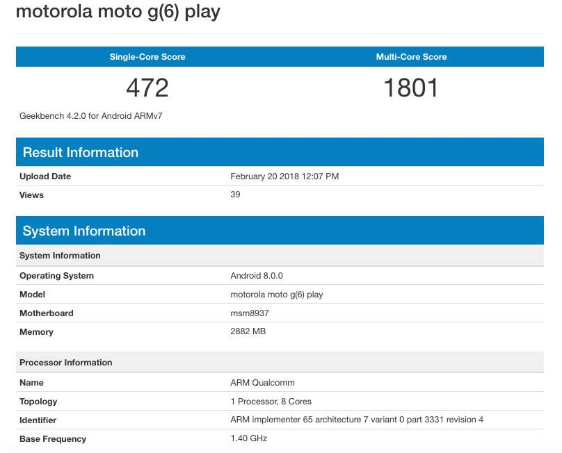 Moto G6 Play Specifications