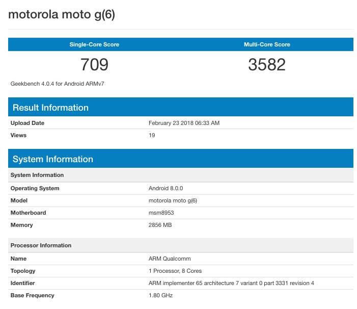 Motorola Moto G6 specifications
