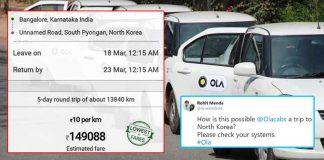 Bangalore to North Korea Ola