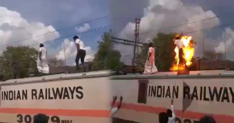 A Protester Gets Electrocuted During Cauvery Protest
