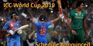 India vs Pakistan ICC World Cup 2019 Schedule