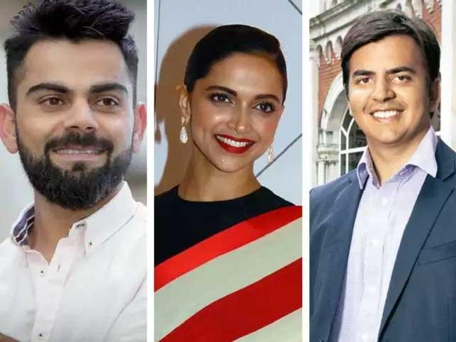 Virat Kohli, Deepika Padukone and Bhavish Aggarwal.
