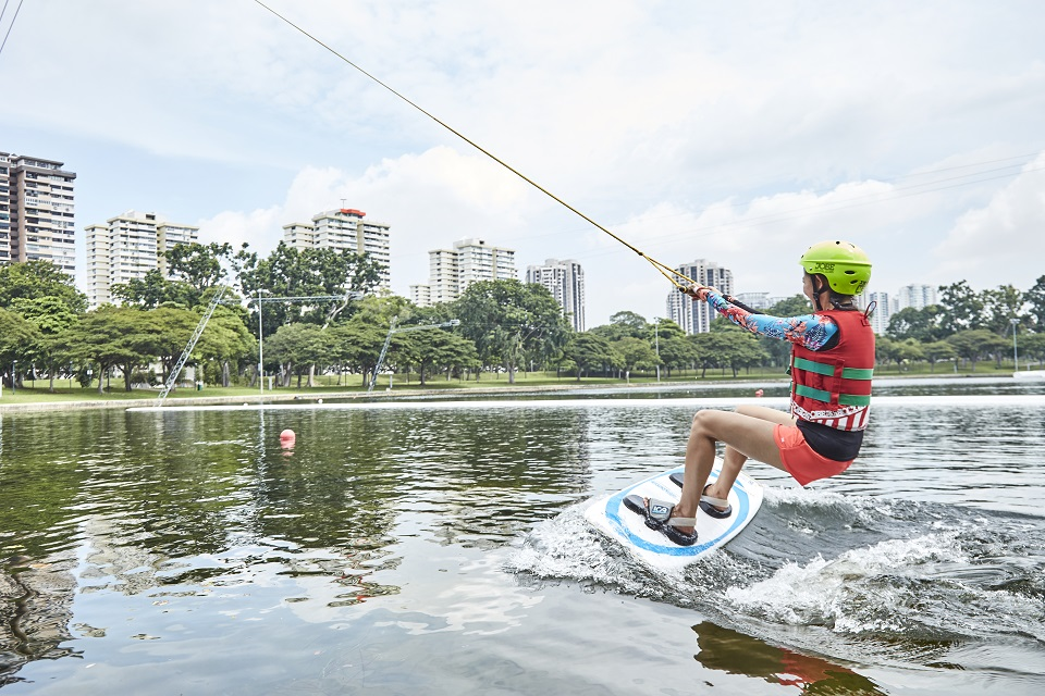 Cable Skiing at Singapore Wake Park