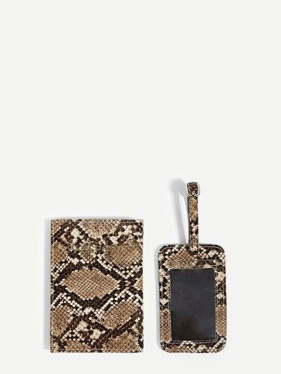Snake skin printed card wallet