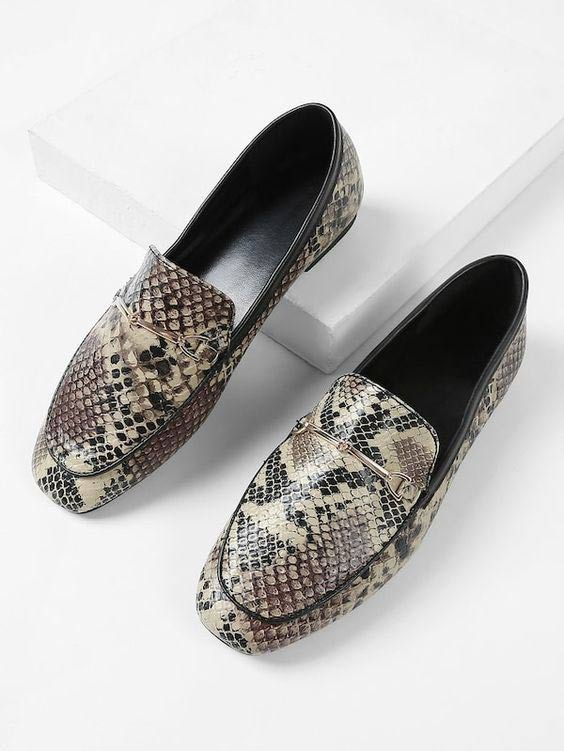 Snake skin printed shoes