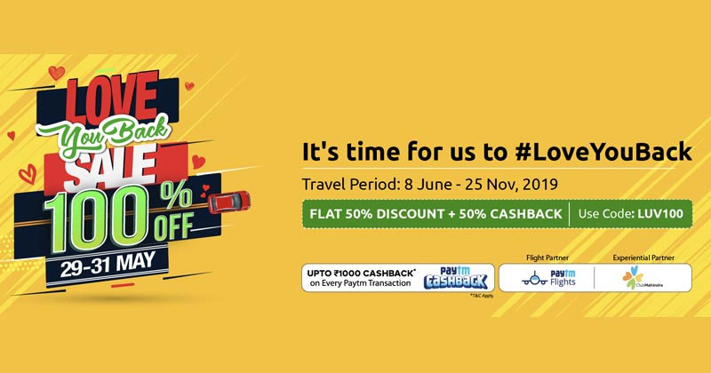 Zoomcar 100% Cash Back Offer