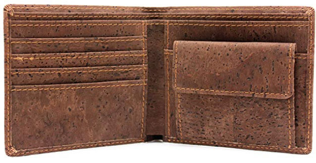 Boshiho's Cork Bifold Dark Brown Vegan Wallet