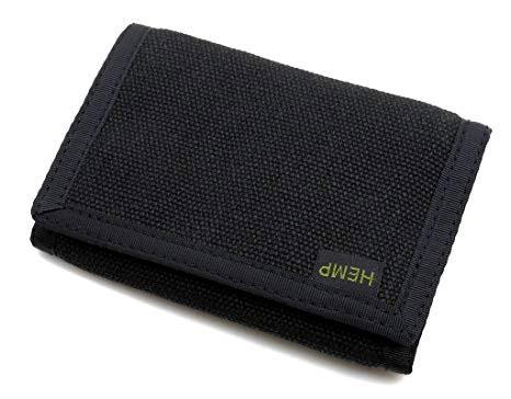 Hempmania's Black Hemp Tri-fold Wallet