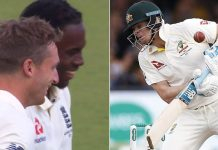 Jofra Archer smiling Steve Smith injury