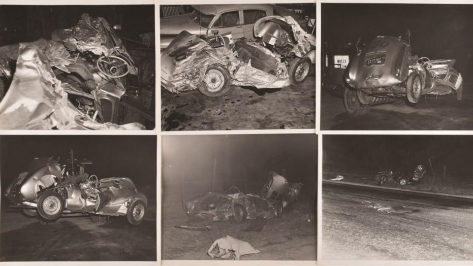 Rare pictures of James Dean's car crash
