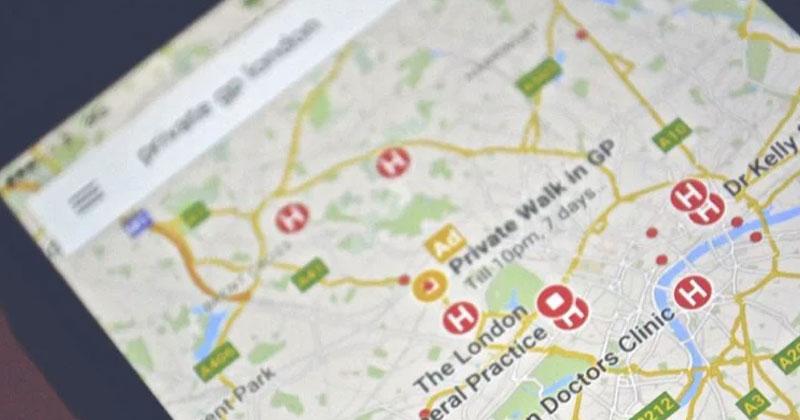 Google maps showing public toilets