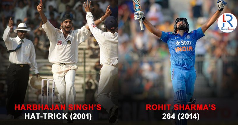 Eden Gardens moments: Harbhajan Singh's hattrick 2001 and Rohit Sharma's 264 runs 2014