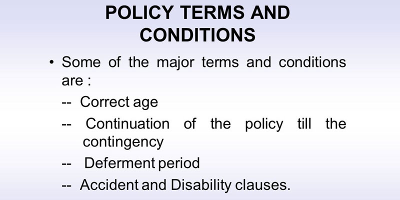 life insurance terms and conditions