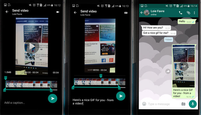 Steps To Make a GIF on Whatsapp