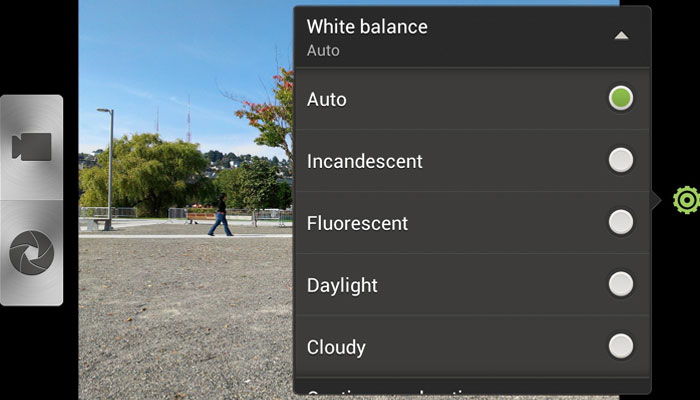 White balance setting in smartphone