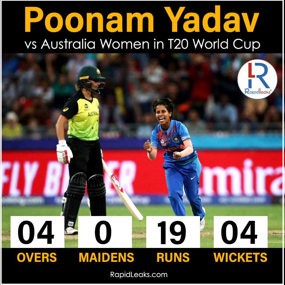 Poonam Yadav vs Australia Women 1st match T20 World Cup