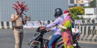 Coronavirus helmet in India