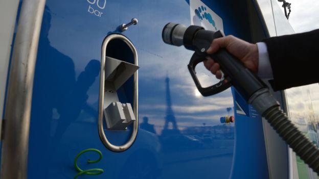 Hydrogen is stored under huge pressure